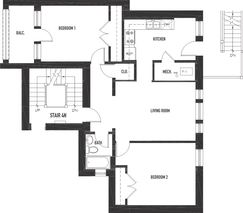 2 bedroom 1 bath units ironwood courtironwood court for Apartment plans 6 units